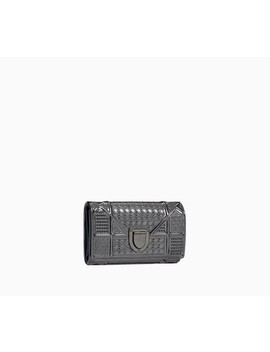 """Diorama Wallet On Chain Clutch In Onyx Metallic Calfskin With """"Micro Cannage"""" Motif by Dior"""
