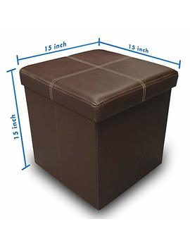 "Otto & Ben 15"" Storage Ottoman   Folding Toy Box Chest With Memory Foam Seat, Faux Leather Small Ottomans Bench Foot Rest Stool, Line Black by Otto & Ben"