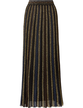 Striped Metallic Crochet Knit Maxi Skirt by Missoni