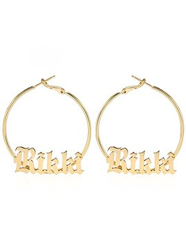 Aochee Monogram Hoop Earring Personalized Name Earring Custom Made With Any Name by Aochee