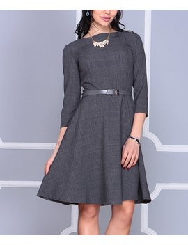 Graphite Belted A Line Dress   Women by Zulily
