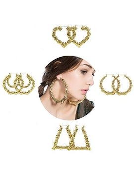 Shoopic Bamboo Earrings Gold Tone Statement Hip Hop Hoop Earrings For Women by Zealmer