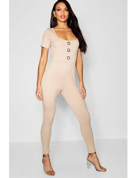Jumbo Rib Horn Button Catsuit by Boohoo