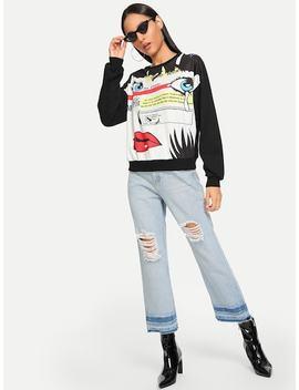 Drop Shoulder Graphic Print Sweatshirt by Shein