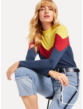 Colorblock Stand Neck Tee by Sheinside