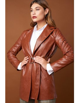 Pu Leather Belted Jacket Burned Brown by Na Kd