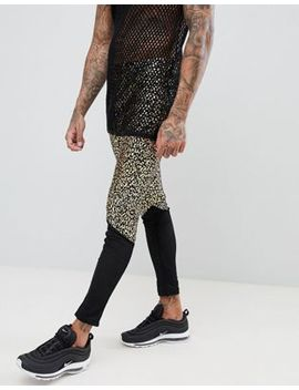 Asos Design Festival Meggings With Leopard Print And Mesh Panel by Asos Design