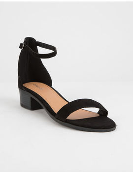 Qupid Suede Ankle Strap Black Womens Heeled Sandals by Qupid