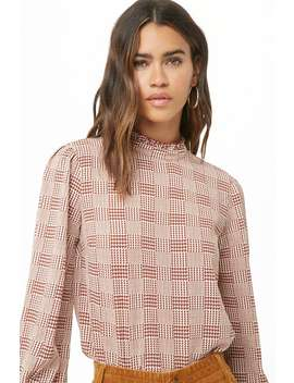 Glen Plaid Mock Neck Top by Forever 21