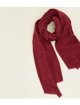 Burgundy Fray Hem Scarf by New Look