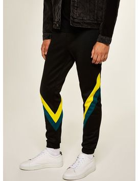 Black And Teal Splice Joggers by Topman