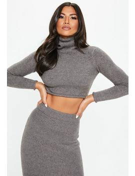 Dark Grey Roll Neck Ribbed Knitted Co Ord Set by Missguided