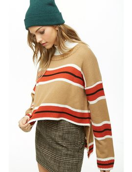 Striped Knit Step Hem Sweater by Forever 21