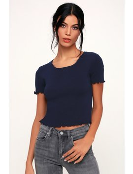 You're The One Navy Blue Lettuce Edge Cropped Tee by Lulus