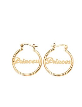 "24 K Gold Plated Circle Hoop Earrings Alphabet Nameplate""Princess"" Earring by Cb Gold Jewelry"