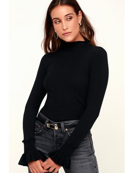Emma Black Long Sleeve Mock Neck Sweater Top by Black Swan