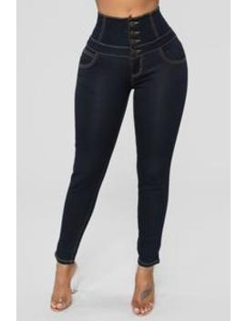 Not Your Side Piece High Rise Jeans   Dark Denim by Fashion Nova