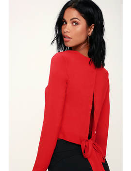 Sloane Red Long Sleeve Backless Top by Wayf