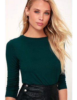 Hollis Forest Green Ribbed Long Sleeve Crop Top by Lulus Basics