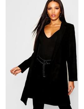 Collared Pocket Wool Look Coat by Boohoo
