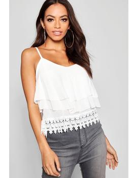 Crochet Trim Double Layer Chiffon Cami by Boohoo
