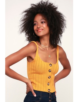 Adeline Mustard Yellow Ribbed Button Up Cropped Tank Top by Lulus