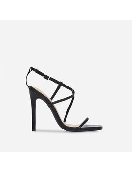 Isabelle Strappy Heel In Black Faux Leather by Ego