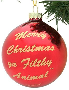 Tree Buddees Merry Christmas Ya Filthy Animal Glass Christmas Ornament by Tree Buddees