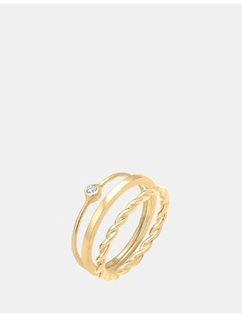 Ring Solitaire Stacking Swarovski Crystals 925 Silver Gold Plated by Elli Jewelry