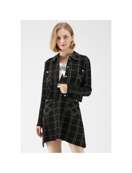Grid For Your Pleasure Knit Dress And Jacket Set by Chicwish