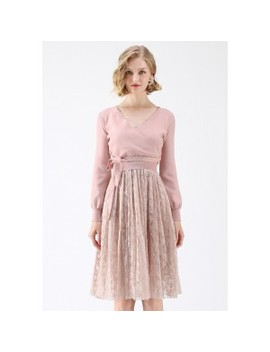 The Perfect Match Lace Twinset Dress In Pink by Chicwish