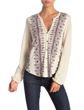 Knit Button Front Top by Lucky Brand