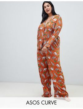 Asos Design Curve Safari Animal Pyjama Shirt And Wide Leg Set 100 Percents Modal by Asos Design