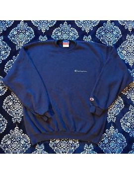 Champion Authentic Vintage Pullover Sweatshirt Size Mens Large Navy Blue by Champion