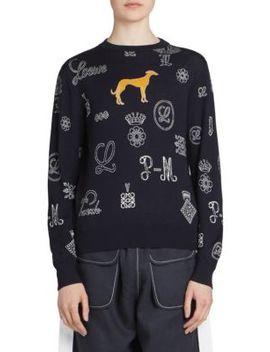 Wool Blend Logo & Dog Sweater by Loewe