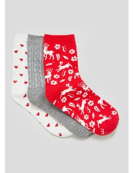3 Pack Printed Socks by Matalan