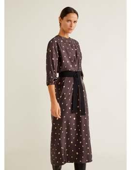 Polka Dot Kleid Mit Schleife by Mango