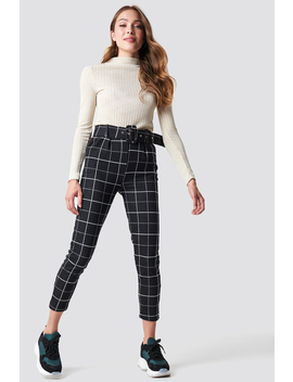 Checkered Belted Pants Black by Na Kd