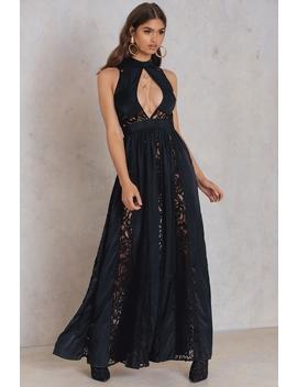 Lace Panel Maxi Dress Black by Na Kd