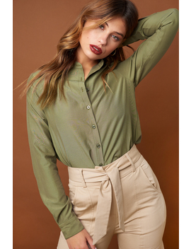 collar-stand-long-sleeve-shirt-khaki-green by na-kd