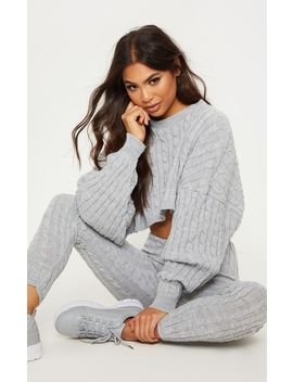 Grey Cable Knit Crop Jumper & Legging Set by Prettylittlething