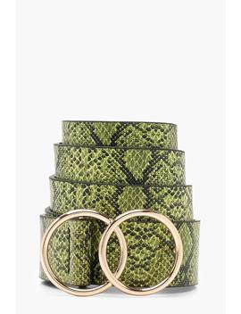 Double Ring Faux Snake Belt by Boohoo