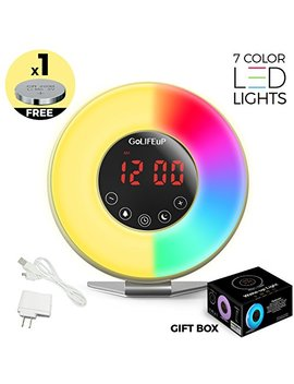 Alarm Clock Radio Digital Sunrise And Sunset Simulation Wake Up Light For Kids Teens Women And Men With Touch Led Display 6 Natural Sounds 7 Colors With Usb Charger   Perfect Electronic Gift For All by Go Lif Eu P