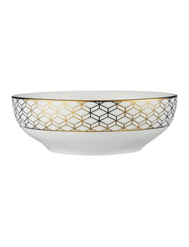 John Lewis & Partners Geometric Decorated Serving Bowl, Gold, 23cm by John Lewis & Partners
