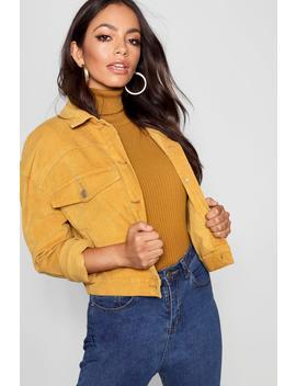 Mustard Cord Oversize Pocket Jacket by Boohoo