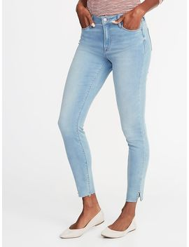 Mid Rise Built In Warm Raw Edge Rockstar Super Skinny Jeans For Women by Old Navy