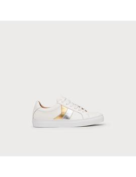Alivia Silver Gold Leather Lace Up Trainers by L.K.Bennett