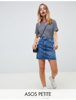 Asos Design Petite   Jupe Taille Haute En Jean Authentique   Bleu Moyen Délavé by Asos Design
