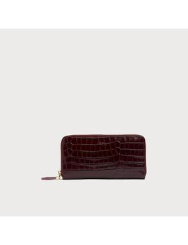 Kenza Wine Croc Effect Purse by L.K.Bennett