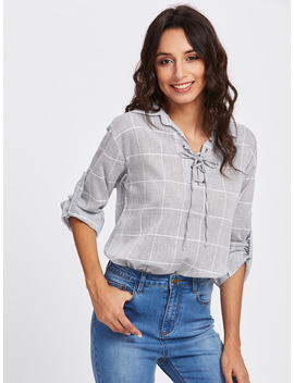 Rolled Sleeve Checked Eyelet Lace Up Blouse by Romwe